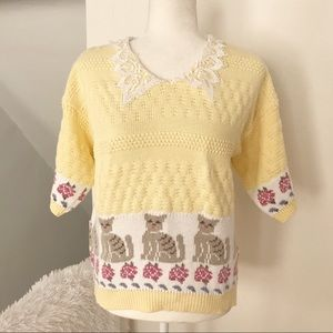 Vintage Cat Knitted Sweater Made in the USA
